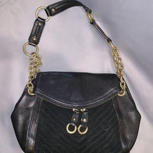 Banana Republic Black Leather & Suede Shoulder Bag